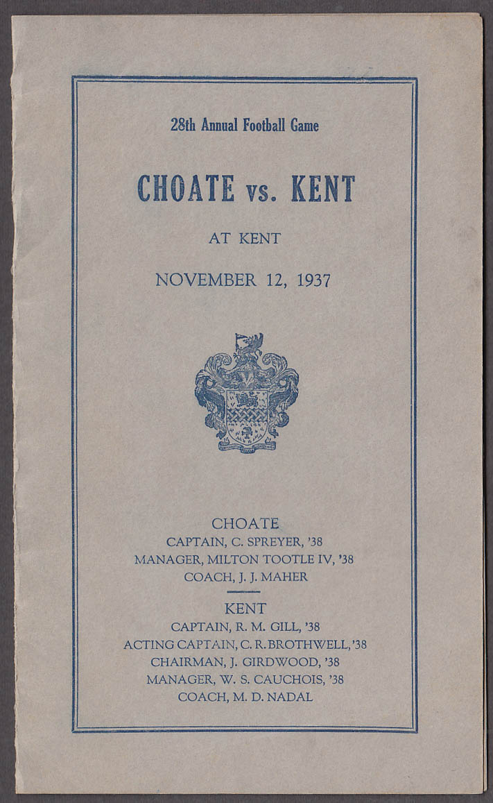 Choate vs Kent prep school football game program 1937