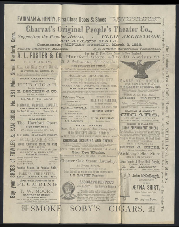 Charvat's Original People's Theater Hartford CT prgrm 1885 Annette Dancing Girl