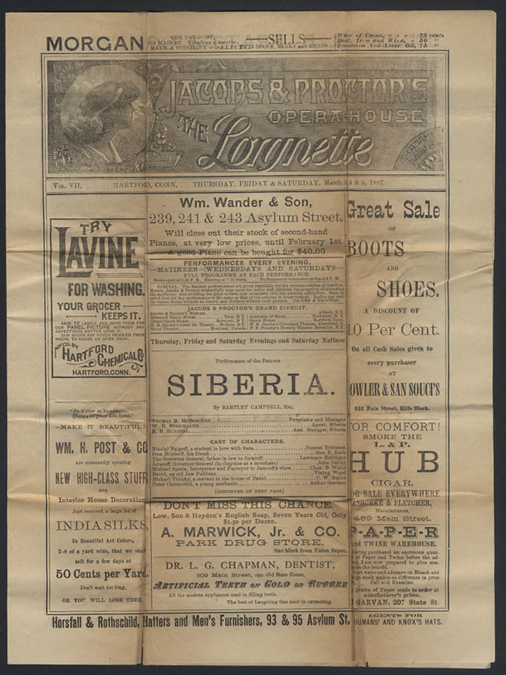 Jacobs & Proctor's Opera House LORGNETTE Hartford CT 1887 Siberia