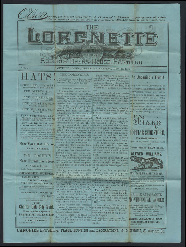 Image for Roberts Opera House LORGNETTE Hartford CT 12/17 1885 Refined Minstrels