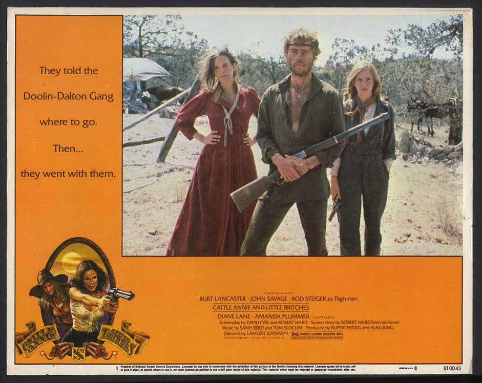 Cattle Annie & Little Britches movie lobby card 1981 Burt Lancaster Diane Lane