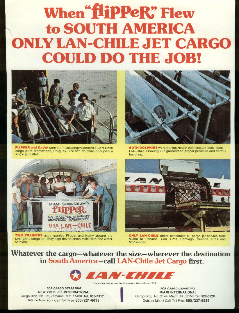 LAN-Chile Airlines Jet Cargo When Flipper Flew airline timetable sheet 1975