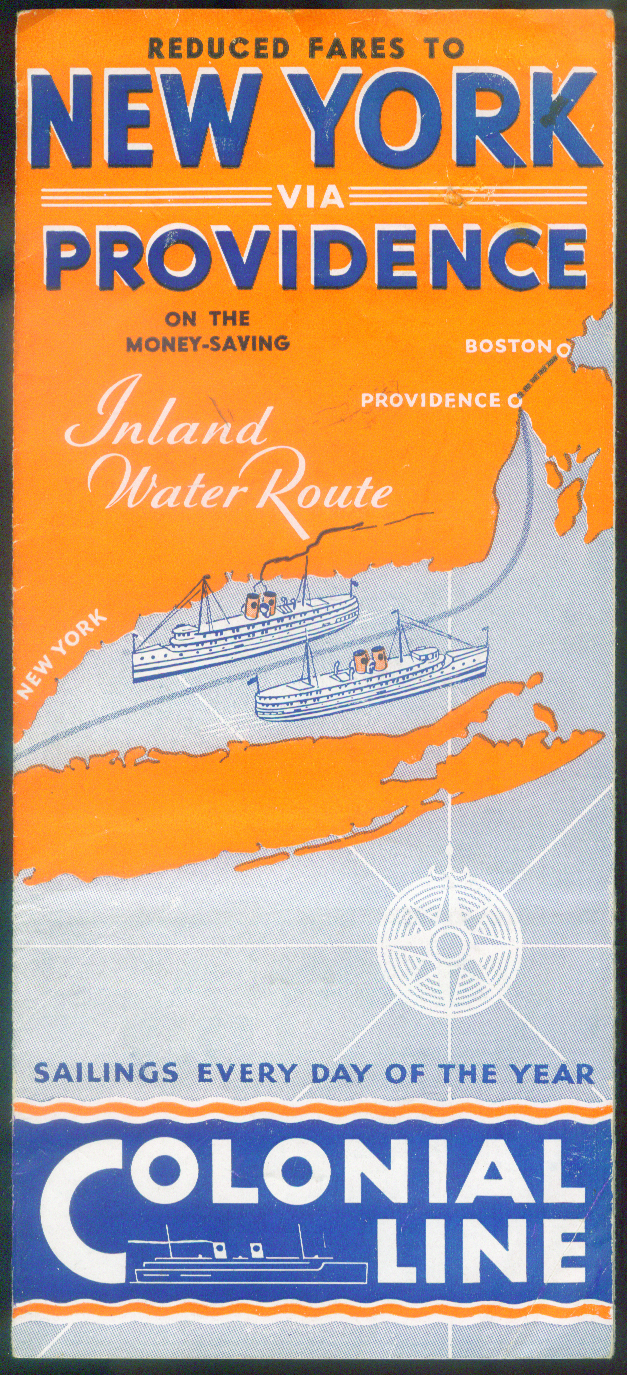 Colonial Line S S Arrow & Comet deck plan & schedule NY-Providence 1941