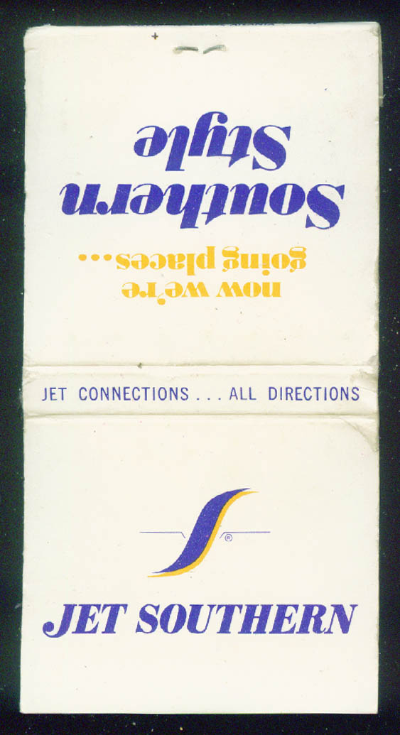 Jet Southern Airways airline matchbook Southern Style back, no plane