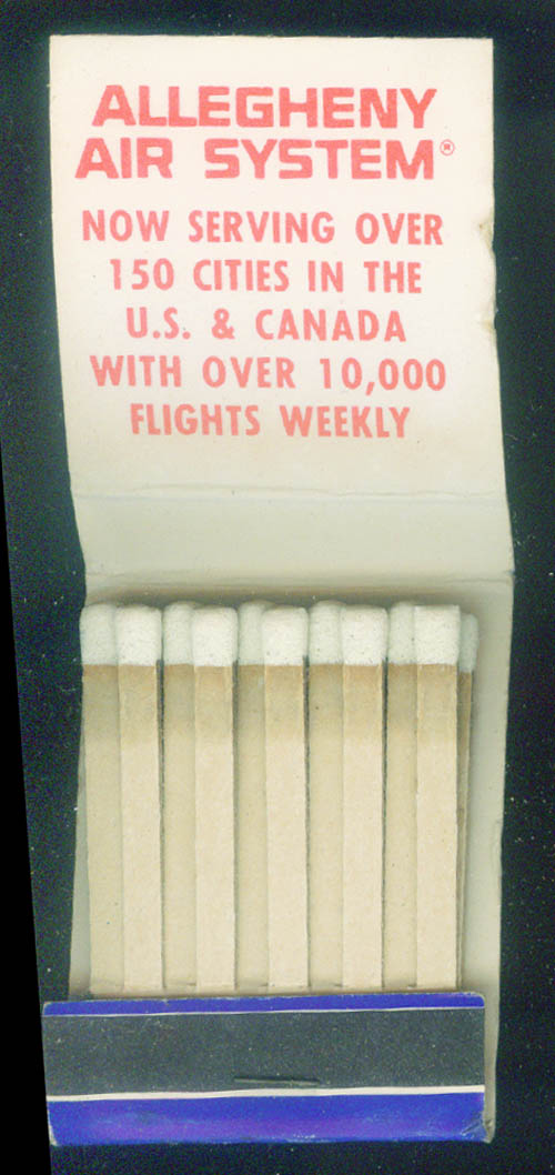 Allegheny Airlines airline matchbook 20-stick unused Jet Custom Class