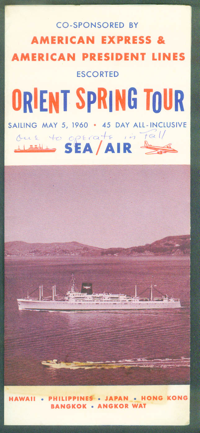 American President Lines Orient Spring Tour folder 1960 American Express