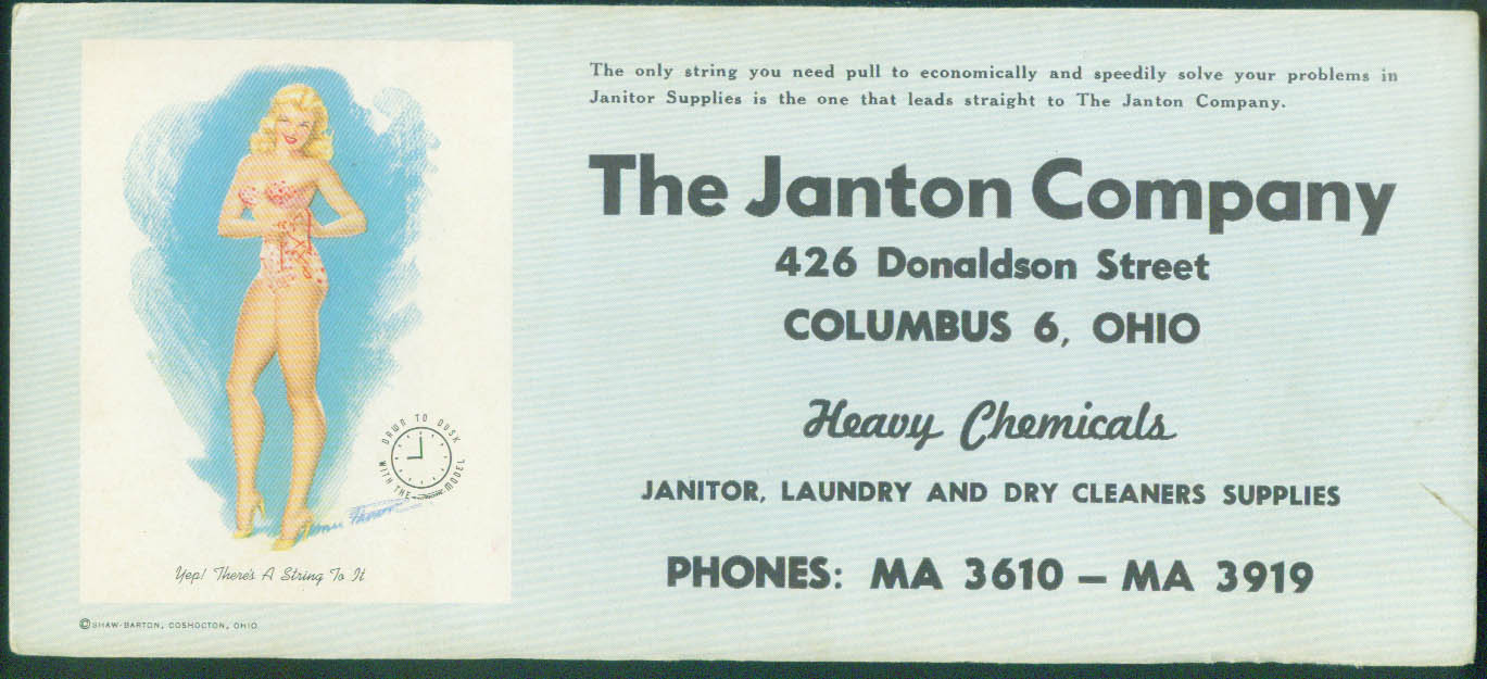 A String to It! MacPherson pin-up blotter Janton Co Chemicals Columbus OH 1940s