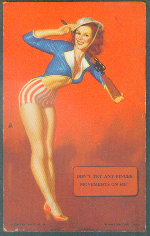 Don't try pincer movements on me pin-up arcade Mutoscope card 1940s