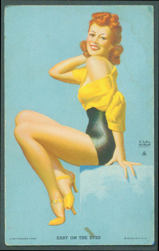 Easy on the Eyes Earl Moran pin-up arcade Mutoscope card 1940s