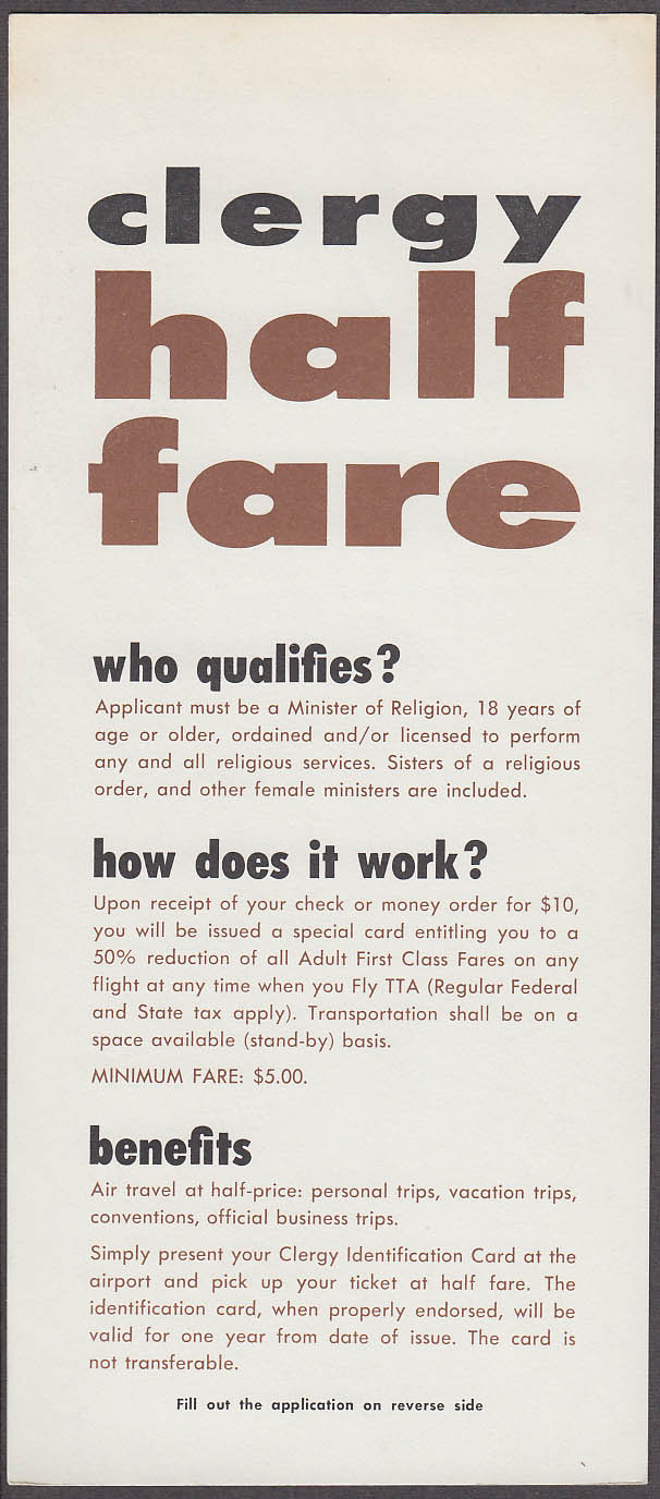 Trans-Texas Airways Clergy Half Fare Application airline card 1967
