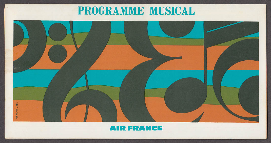 Air France Programme Musical airline folder 10 1971