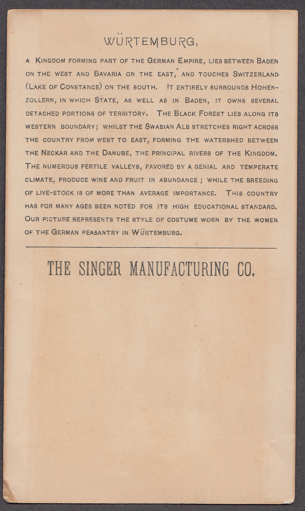 Singer Sewing Machine in Wurtemburg trade card 1894