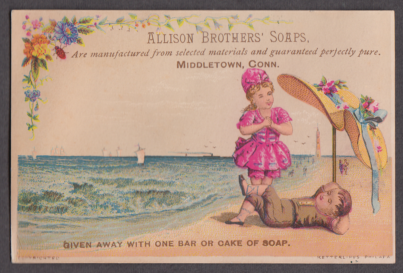 Allison Brothers Soap Middletown CT trade card 1880s kids on beach