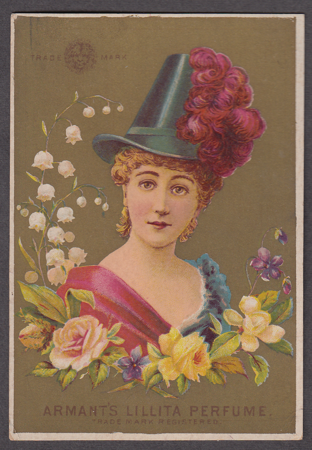 Armant's Lillita Perfume trade card 1880s lady in feathered hat