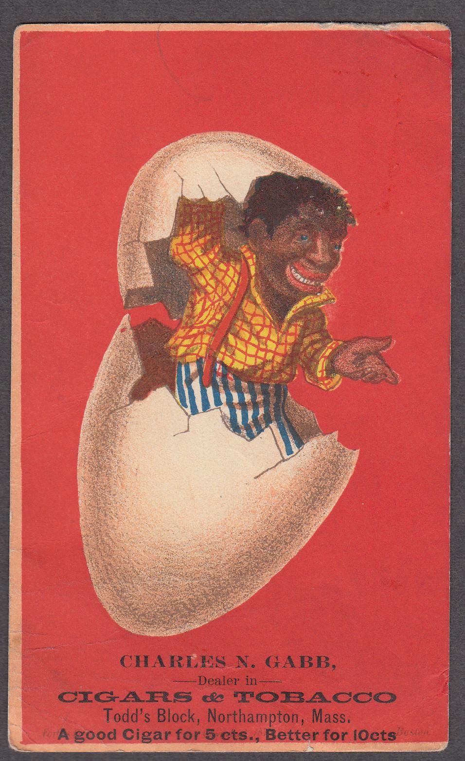 Charles N Gabb Cigars Tobacco Northampton MA trade card 1880s black pops out egg