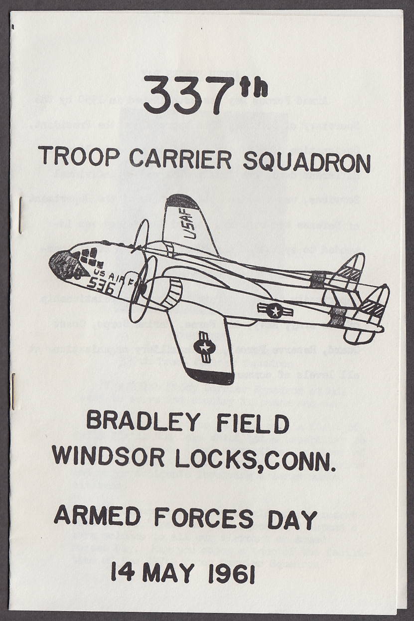337th Troop Carrier Squadron Armed Forces Day Bradley Field CT 1961 program