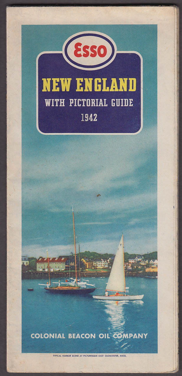 Esso Gasoline New England Road Map with Pictorial Guide 1942