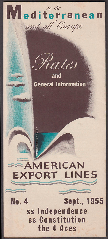 American Export Lines Rates & Info Mediterranean & Europe 9 1955