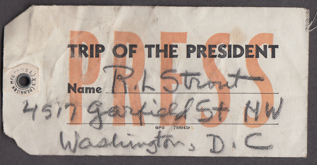 FDR Trip of the President Press Pass R L Strout 1941
