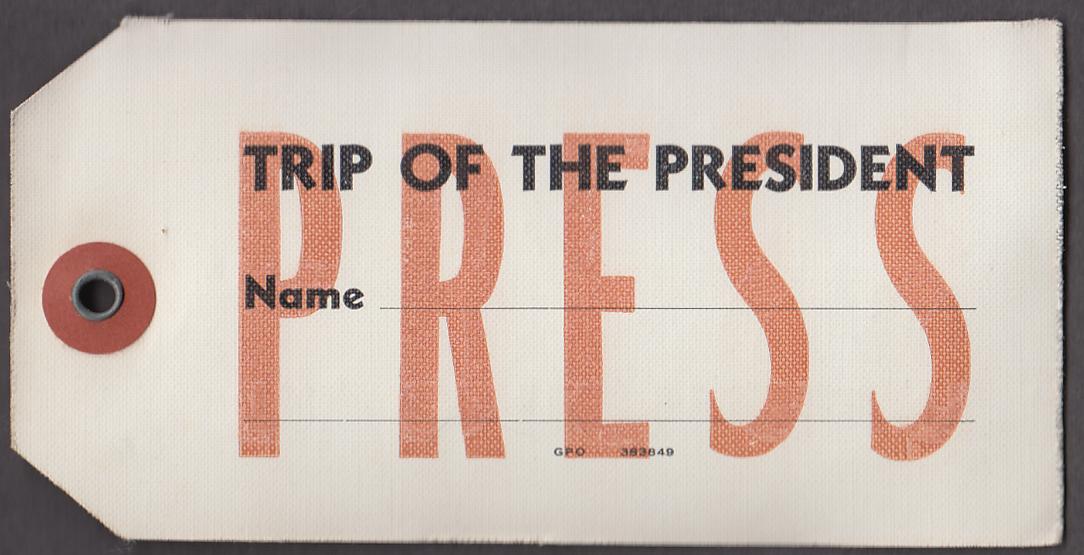 Truman era Trip of the President unused press pass 1949