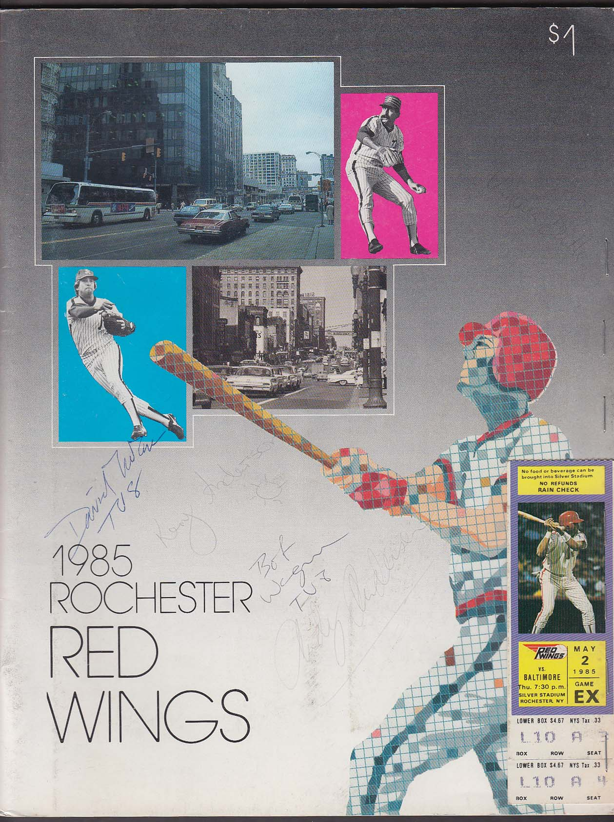 1985 Rochester Red Wings Program Scorebook w/ 2 stubs