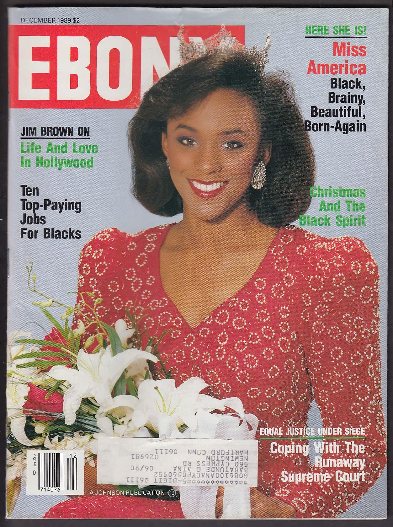 EBONY Debbye Turner Miss America Jim Brown 12 1989