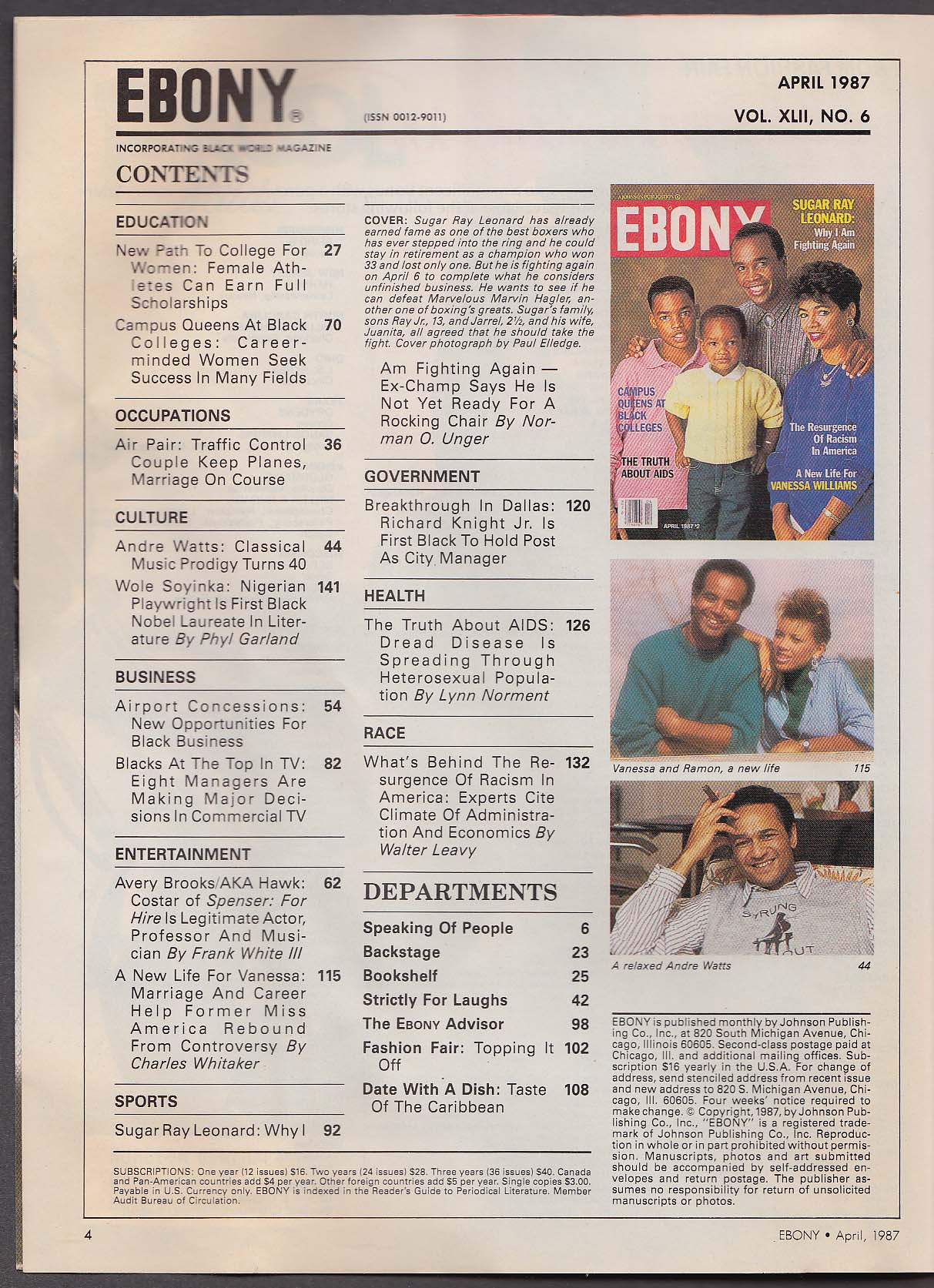 EBONY Sugar Ray Leonard Vanessa Williams AIDS 4 1987