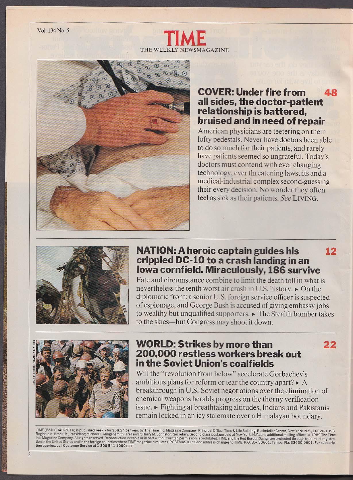 TIME Doctor-Patient Relationships George Bush Iowa DC-10 crash + 7/31 1989