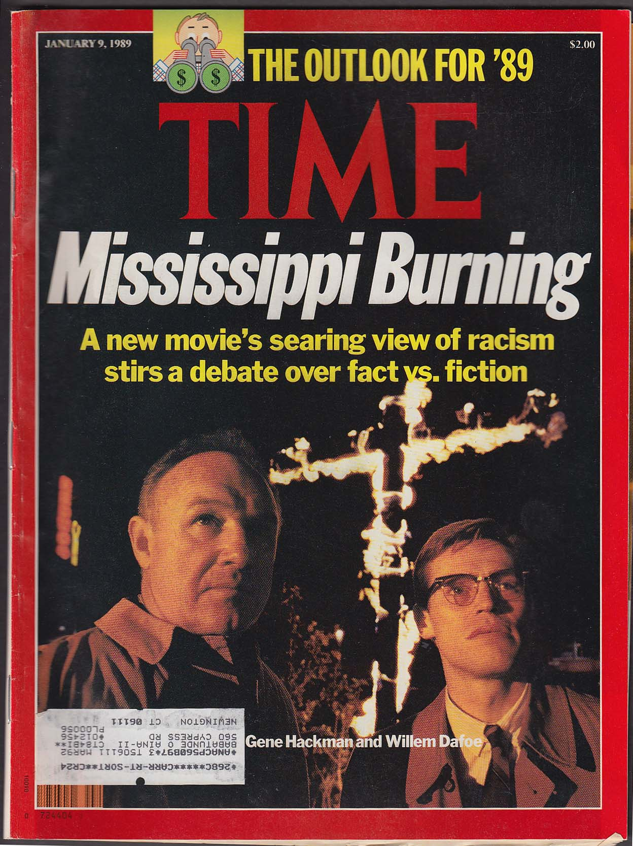 TIME Mississippi Burning Gene Hackman Willem Dafoe 1/9 1989