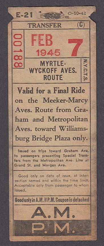 Myrtle-Wycoff Route New York bus transfer