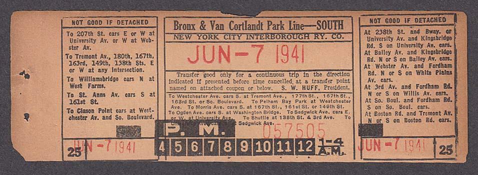New York City Interborough Railway Co Bronx Line transfer 1941