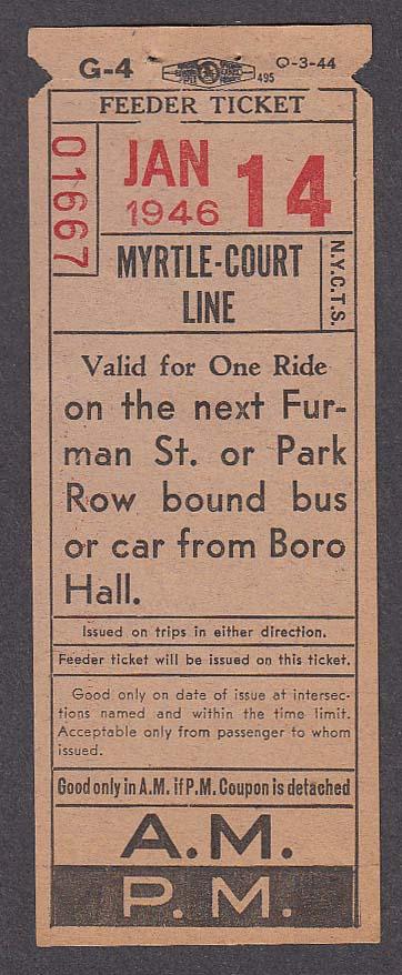 Myrtle-Court Line bus transfer 1946
