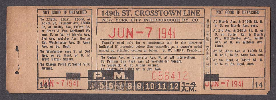 149th St Crosstown Line New York City Interborough railway transfer 1941