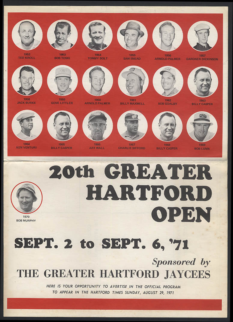 Greater Hartford Golf Open 1971 program advertising solicitation circular