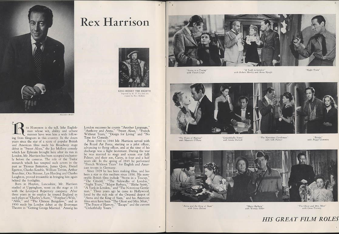 Anne of the Thousand Days program Rex Harrison Joyce Redman ca 1949