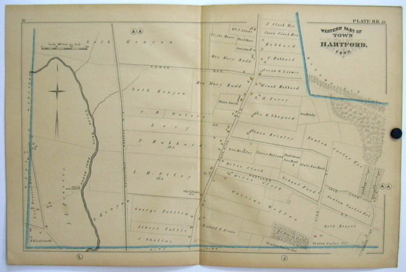 Hartford CT Map 1880 Western Part: Blue Hills Av Tripe Factory CT Western RR