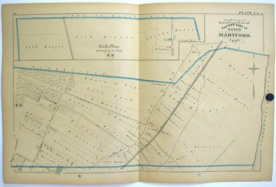 Hartford CT Map 1880 Eastern Part: N Main Tower Av Barbour St