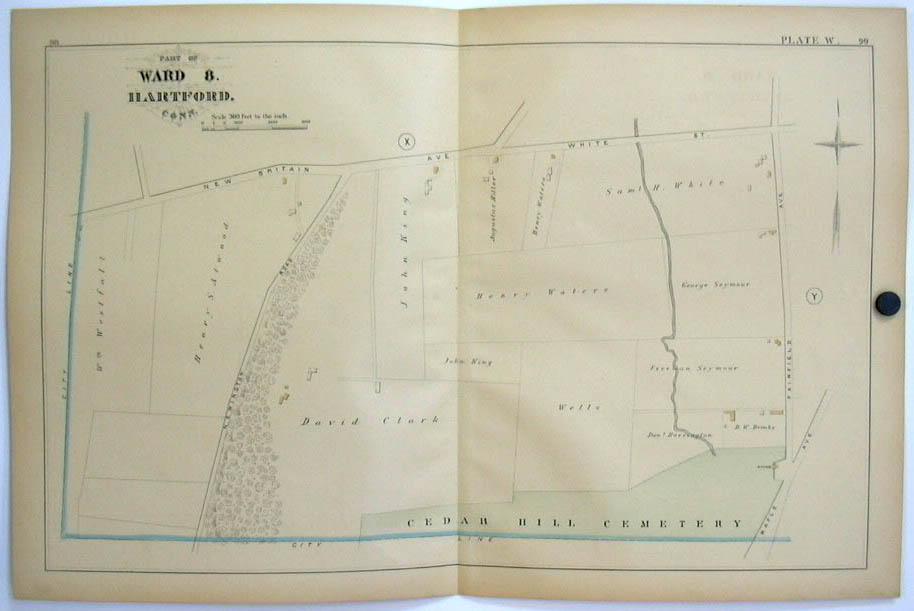 Hartford CT Map 1880 Ward 8 Seymour Waters Clark Atwood Westfall Fairfield Av