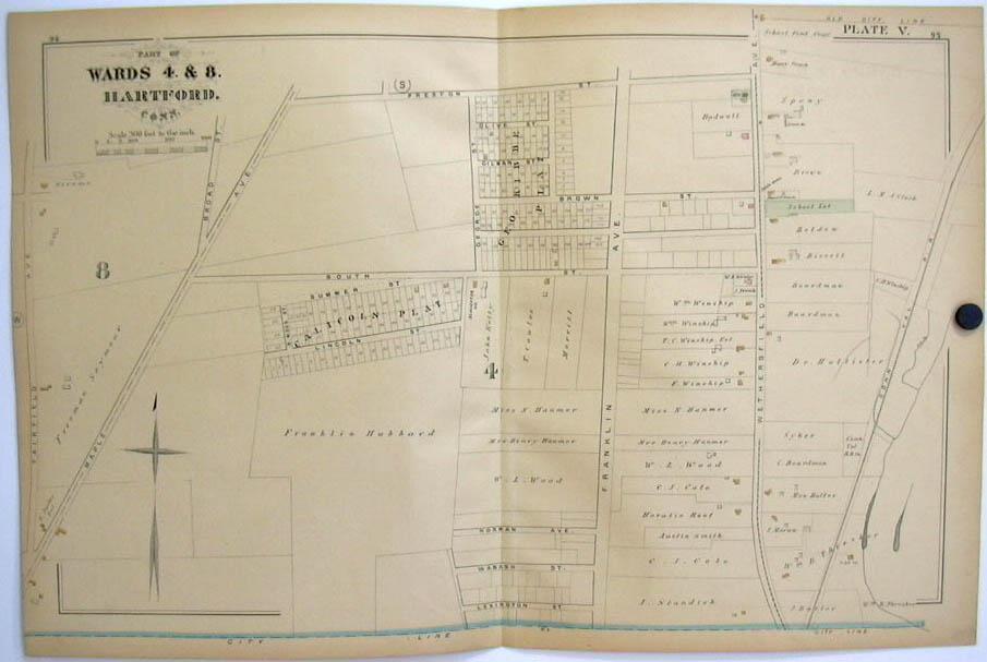 Hartford CT Map 1880 Wards 4 & 8 Dr Hollister CT Valley RR Franklin Av Hubbard