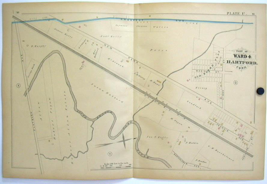 Hartford CT Map 1880 Ward 4 Hubbard Kibbe Plat Allen Fagan NY NH RR Flatbush