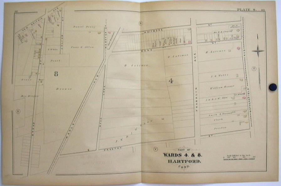 Hartford CT Map 1880 Wards 4 & 8 Shew Latimer Brewer Kingan Maple Av