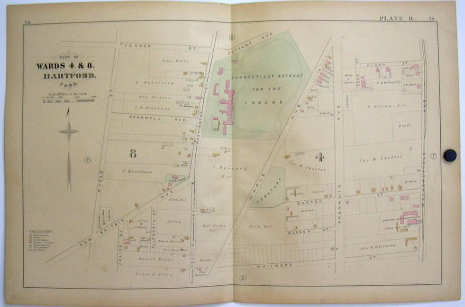 Hartford CT Map 1880 Wards 4 & 8 Insane Retreat Wethersfield Horse RR Depot