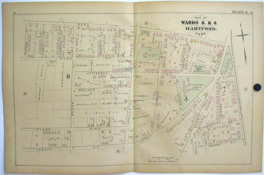Hartford CT Map 1880 Wards 8 & 4 Hartford Hospital Old Orphan Asylum South Green