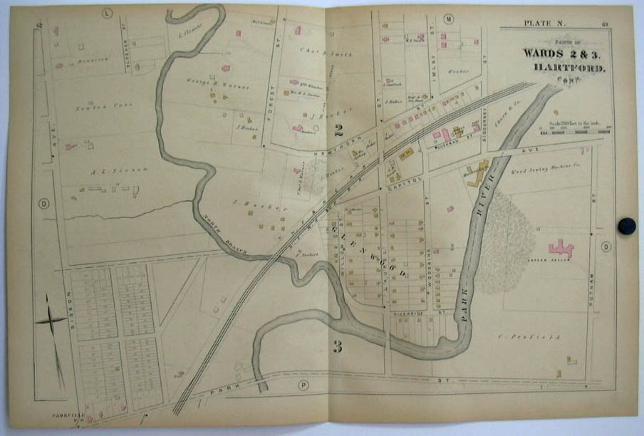 Hartford CT Map 1880 Wards 2 & 3 Orphan Asylum Weed Sewing Machine S L Clemens