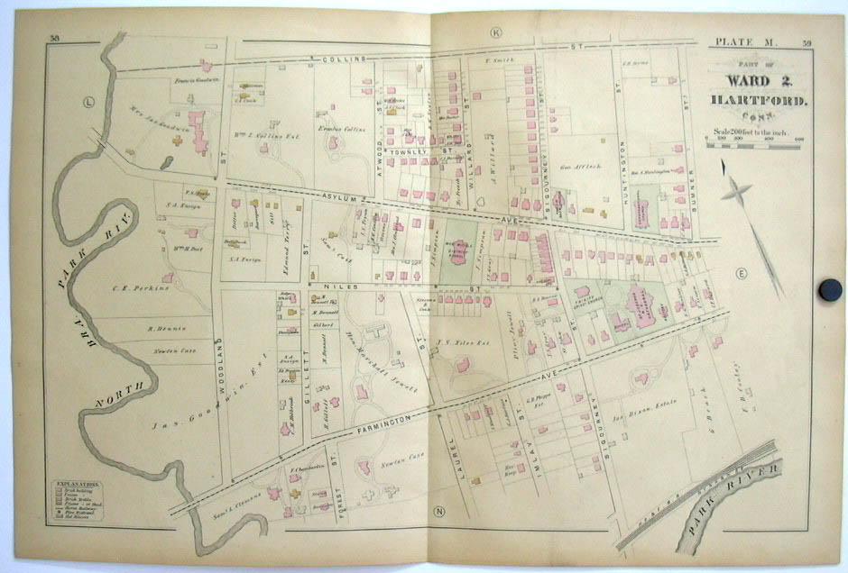Hartford CT Map 1880 Ward 2 Mark Twain Case Dixon Goodwin Colt Collins +