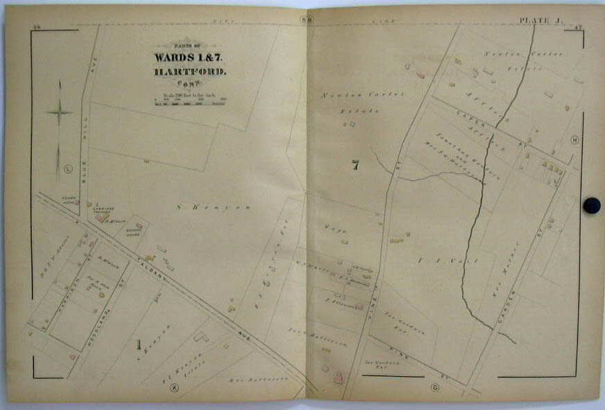 Hartford CT Map 1880 Wards 1 & 7 Carriage Factory Batterson Kenyon Carter +