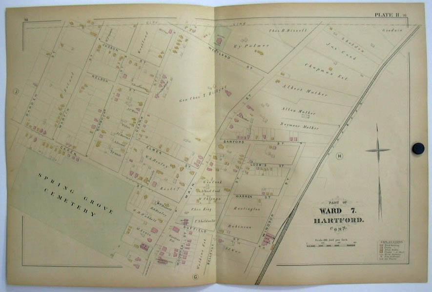 Image for Hartford CT Map 1880 Ward 7 Spring Grove Cemetery Gen Hillyer Washburn Car Wks