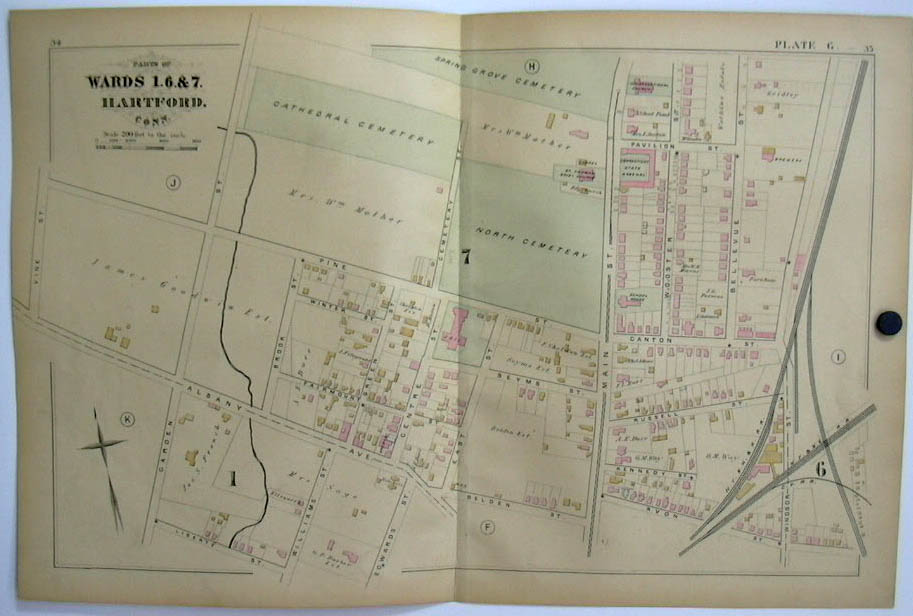 Hartford CT Map 1880 Wards 1 6 & 7 Arsenal Spring Grove Cemetery brewery +