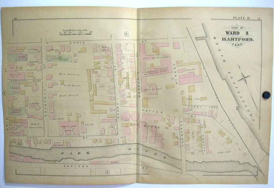 Hartford CT Map 1880 Ward 5 Beach Boiler, Foundry Atheneum Aetna Gas Works +
