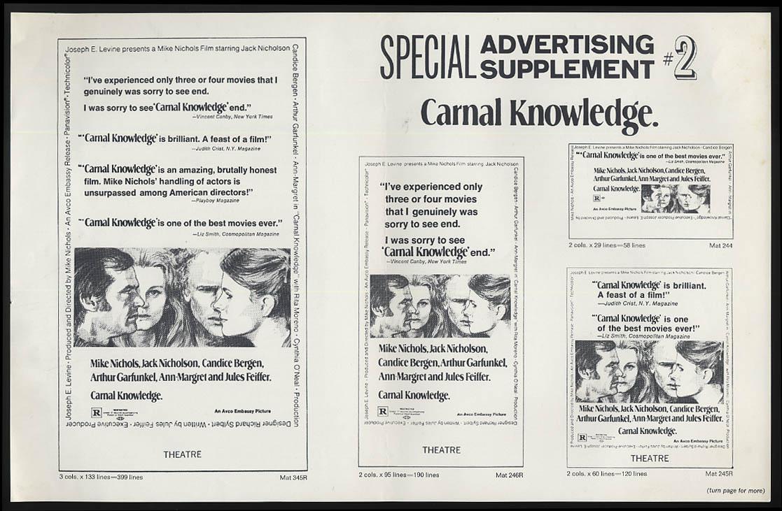Carnal Knowledge movie pressbook 1971 Nichols Nicholson Bergen Ann-Margret